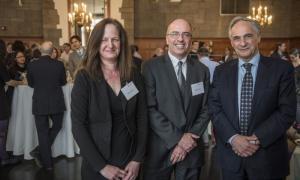 (From left) Professor Alison Winter, Director of the Press Garrett P. Kiely, and University President Robert J. Zimmer
