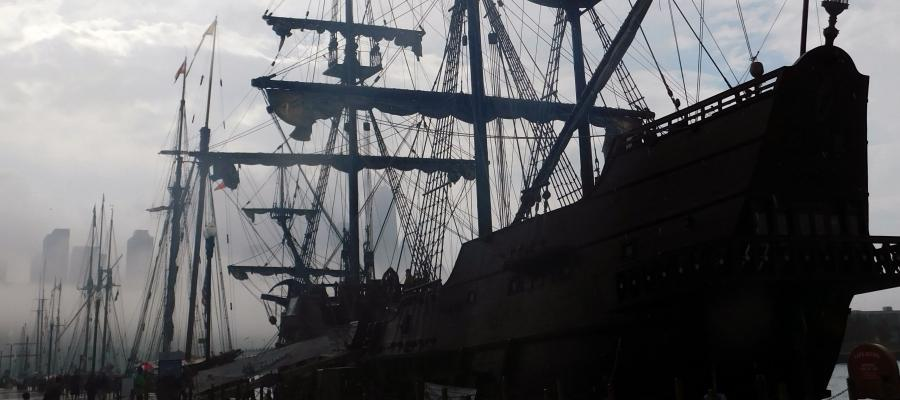 Spanish Gallion and other historic tall ships parked in Chicago harbor