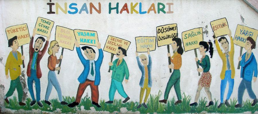 A mural describing human rights in Turkey outside of the public education building in Bayramic Turkey