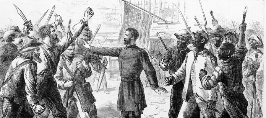 Political Cartoon of the American Freedman Bureau,1868, showing a bureau officer intervening between two armed mobs, one of white men and one of black men, with an American flag behind them