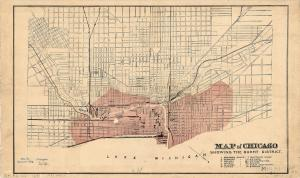 Map of Chicago displaying the burnt area of the city (in red) following the Great Chicago Fire of October 8-10, 1871. The 150th Anniversary of the Chicago Fire was commemorated this month.