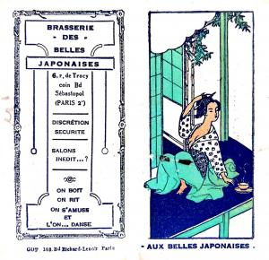 "A calling card for a brasserie in Paris (ca. 1924-1926), which invites male clients to ""drink, laugh, be entertained, and dance"" with ""beautiful Japanese."" From the League of Nations Secretariat Records, S168/23/3."