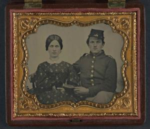 Woman & Union Soldier, c. 1861–1865, hand-colored ambrotype. Liljenquist Family Collection, Library of Congress