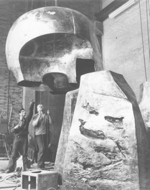 """Nuclear Energy"" by Henry Moore installation, 1967."