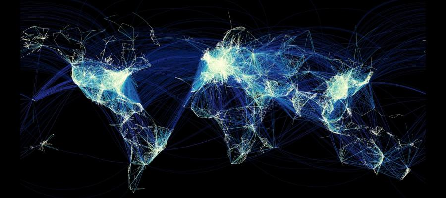 Map of the Earth showing Facebook connections between residents of cities