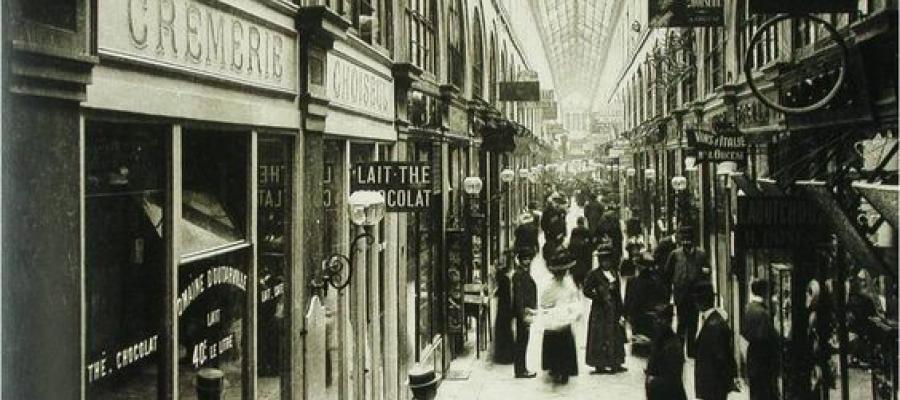 Parisian shopping arcade, late 19th century.
