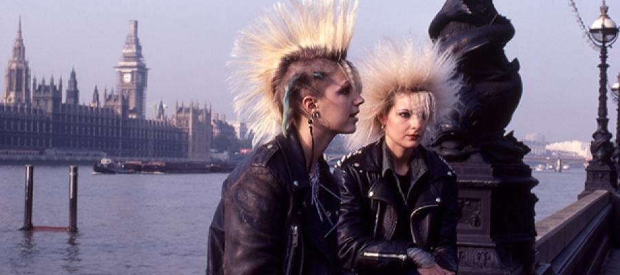 Punks along the Thames, 1983.