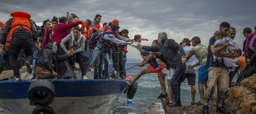 Refugees arrive on the Greek island of Lesbos.  Photo credit: Antonio Masiello.