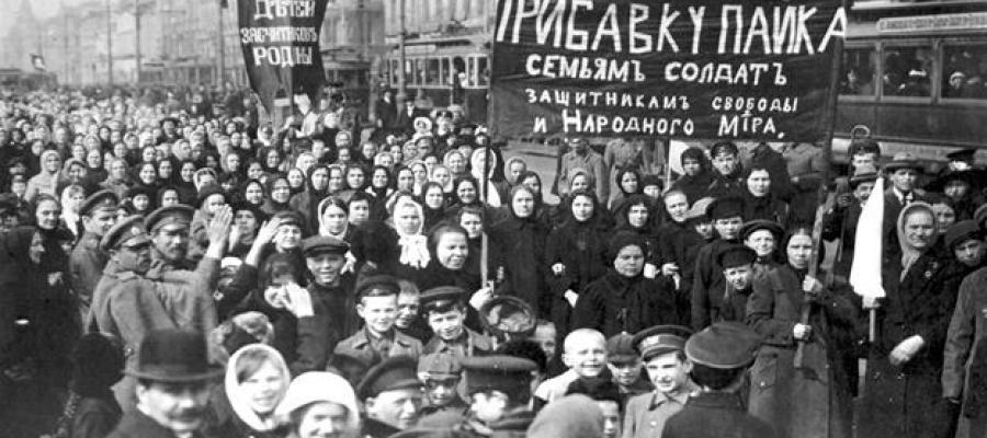 Protest against the tsarist regime, Petrograd, February 1917.